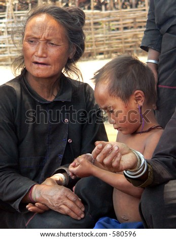 Enn Tribe Villager & Child. Golden-Triangle. Myanmar (Burma)