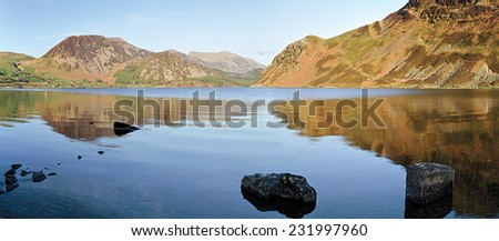 Ennerdale water a site of special scientific interest due to its unspoilt nature. The lake is currently used as a reservoir to serve Whitehaven and west cumbria. - stock photo