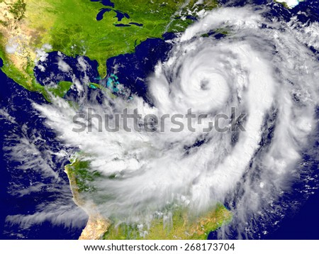 Enormous hurricane over the Atlantic. Elements of this image furnished by NASA - stock photo