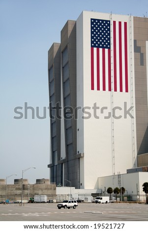 Enormous Vehicle Assembly Building on Cape Canaveral NASA base, Florida, US - stock photo
