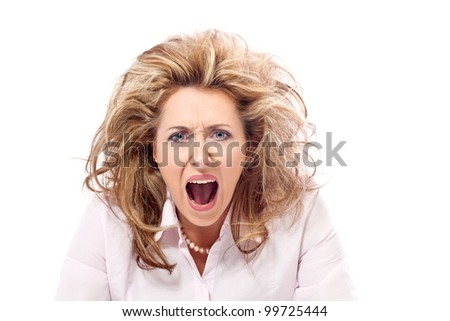 Enough! Angry woman screaming in a frustration - stock photo