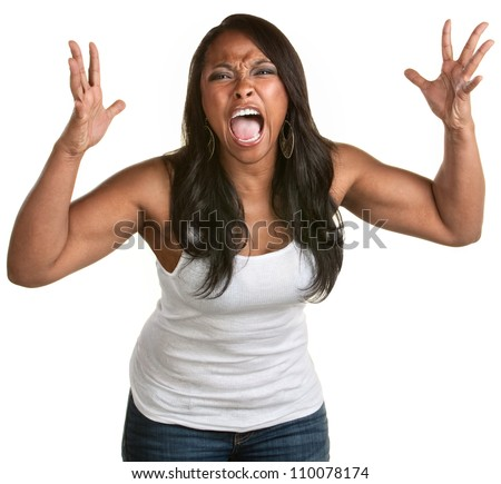 Enraged young woman with hands up yelling - stock photo