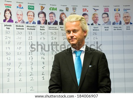 ENSCHEDE, NETHERLANDS - SEP 05: Political leader Geert Wilders of the Dutch center right party PVV during a campaign before the elections, SEPTEMBER 05, 2012 in the Netherlands