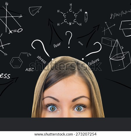 Entangled thoughts in the mind of the student. poor sleep - stock photo