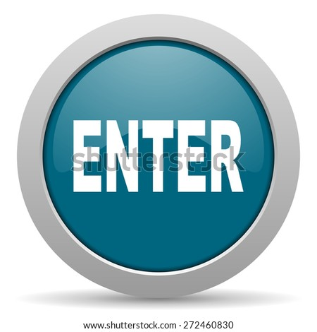 enter blue glossy web icon  - stock photo