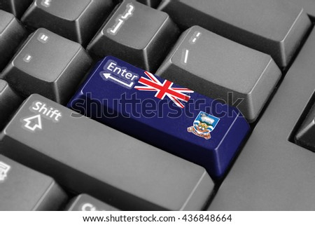 Enter button with Flag of Falkland Islands - stock photo
