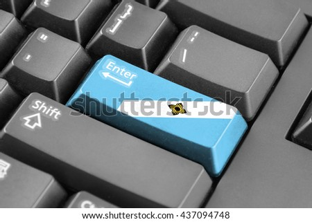 Enter button with Flag of Madison, Wisconsin - stock photo