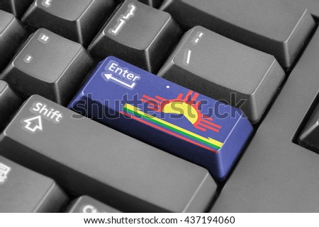 Enter button with Flag of Roswell, New Mexico - stock photo