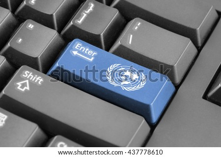 Enter button with Flag of United Nations - stock photo