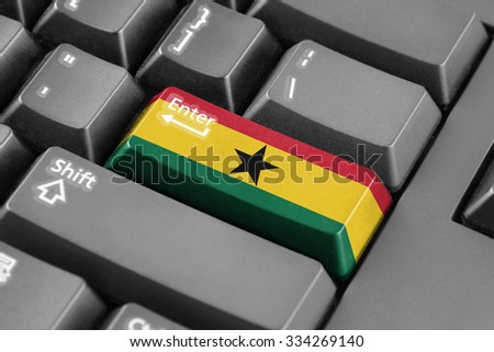 Enter button with Ghana Flag - stock photo
