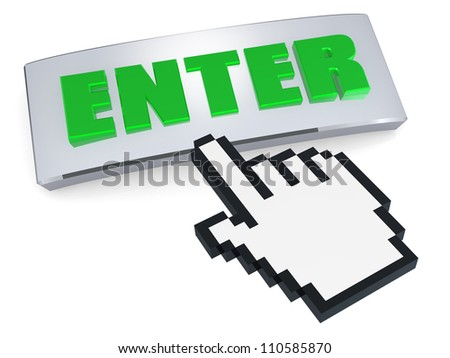 Enter button with hand pointer - stock photo