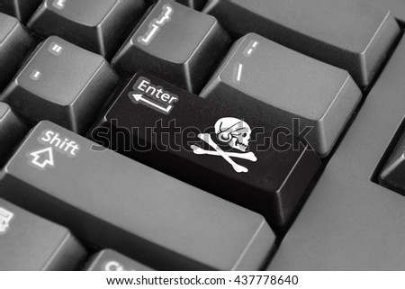 Enter button with Henry Every Pirate Flag - stock photo