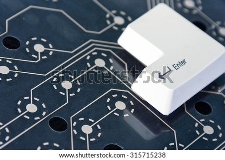 Enter computer key button - stock photo