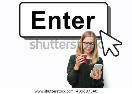 Enter  Entering Entrance Entry Icon Information Concept - stock photo