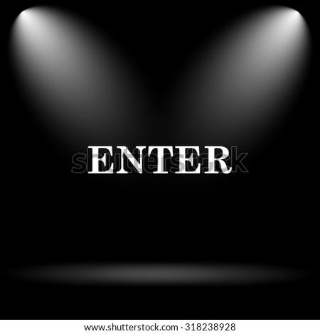 Enter icon. Internet button on black background. - stock photo