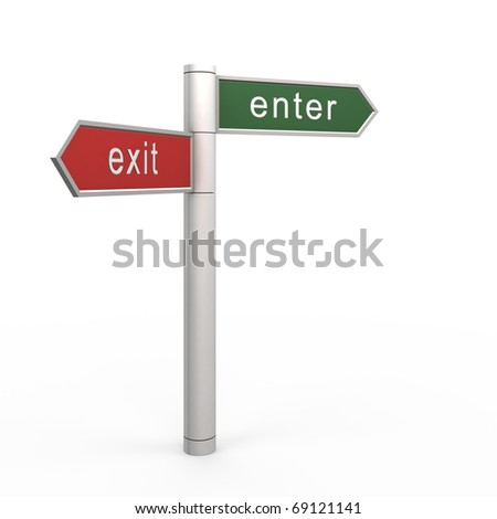 Enter or exit. 3d isolated on white