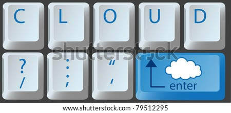 Enter the cloud with a cloud computing key on computer keyboard - stock photo