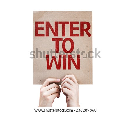 Enter to Win card isolated on white background - stock photo