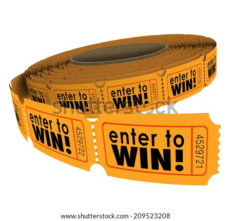 Enter to Win words on a roll of orange raffle or lotter tickets as a fundraiser for charity or contest for lucky players - stock photo
