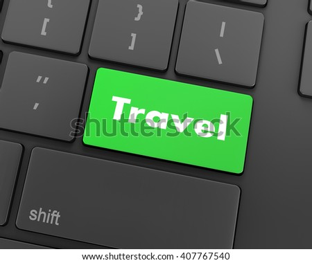 enter travel key, 3d rendering