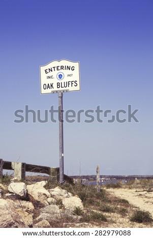 Entering Oak Bluffs sign on Martha's Vineyard Massachusetts. - stock photo