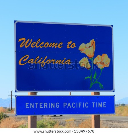Entering Pacific Time Road Sign with Welcome to California poster