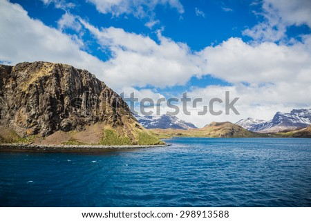 Entering Stromness Harbor in South Georgia - stock photo