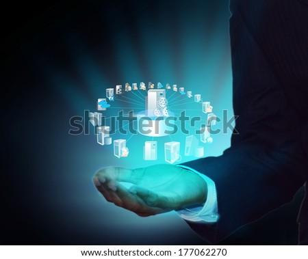 Enterprise Application connectivity and Integration in business man hand