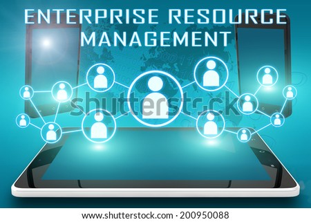 Enterprise Resource Management - text illustration with social icons and tablet computer and mobile cellphones on cyan digital world map background - stock photo