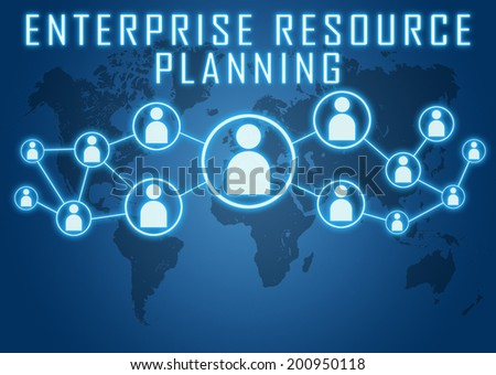 Enterprise Resource Planning concept on blue background with world map and social icons. - stock photo