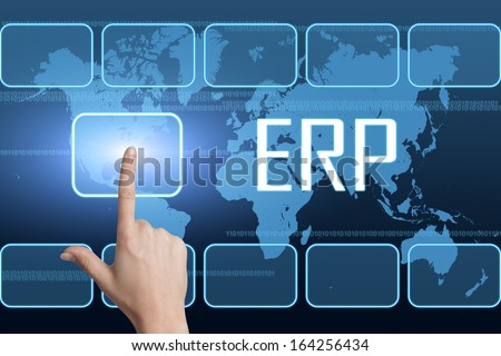 Enterprise Resource Planning concept with interface and world map on blue background - stock photo