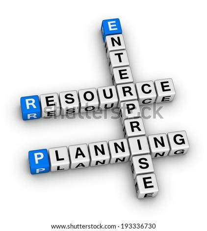 enterprise resource planning crossword puzzle - stock photo