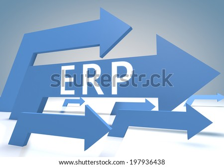 Enterprise Resource Planning 3d render concept with blue arrows on a bluegrey background. - stock photo