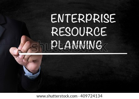 ENTERPRISE RESOURCE PLANNING (ERP) and Businessman drawing  Page on blackboard
