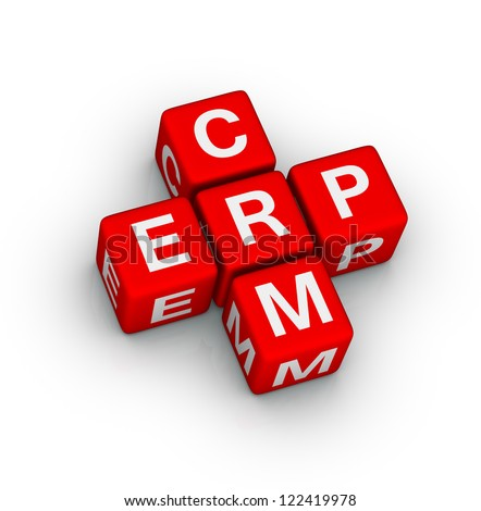 Enterprise Resource Planning (ERP) and Customer Relationship Management (CRM) crossword puzzle - stock photo