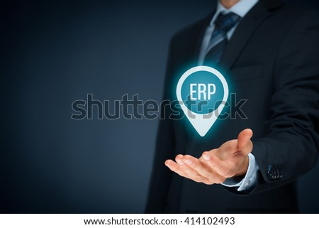 Enterprise resource planning ERP concept. Businessman offer ERP business management software for collect, store, manage and interpret business data.