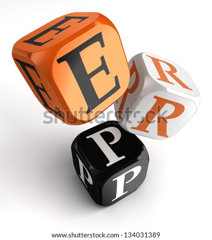 Enterprise Resource Planning System orange black dice blocks on white background. clipping path included