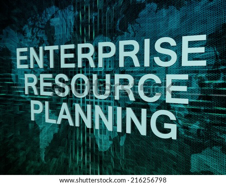 Enterprise Resource Planning text concept on green digital world map background  - stock photo
