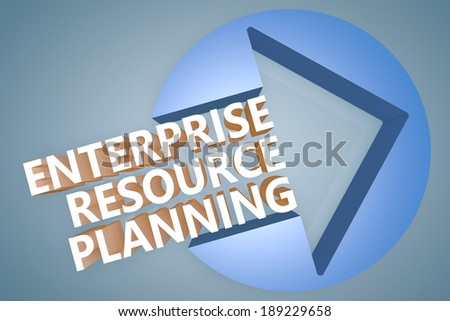 Enterprise Resource Planning - text 3d render illustration concept with a arrow in a circle on blue-grey background