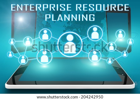 Enterprise Resource Planning - text illustration with social icons and tablet computer and mobile cellphones on cyan digital world map background - stock photo