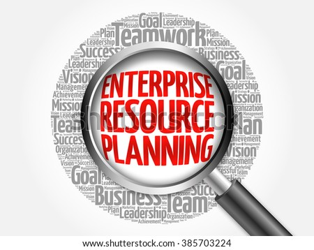 Enterprise Resource Planning word cloud with magnifying glass, business concept - stock photo