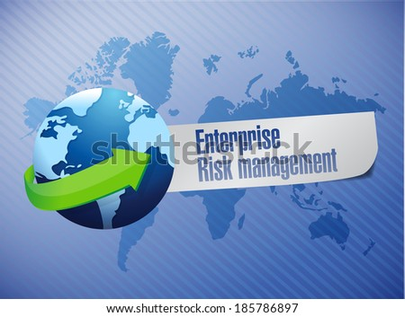 enterprise risk management globe sign illustration design over a world map background