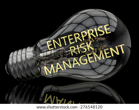 Enterprise Risk Management - lightbulb on black background with text in it. 3d render illustration. - stock photo