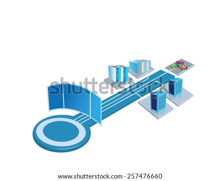 Enterprise System integration architecture template, The users can place relevant system and monitoring images at the empty places and build their own architecture images out of this template image - stock photo