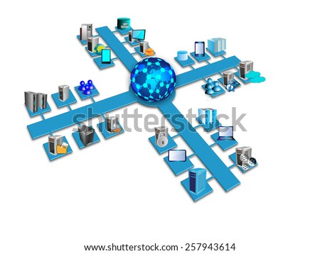 Enterprise System integration architecture, This image illustrates various enterprise, legacy, database, mobile, web systems and applications are connected in a data center from different networks - stock photo