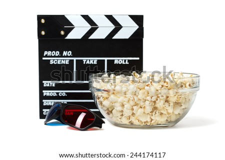 Entertainment and cinema concept. Popcorn in glass bowl with clapboard and 3D glasses. Isolated on white background.
