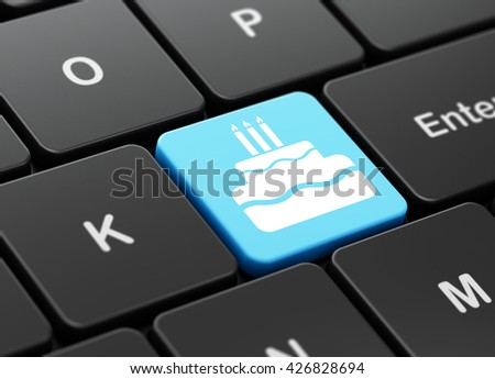 Entertainment, concept: computer keyboard with Cake icon on enter button background, 3D rendering