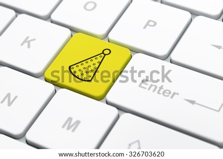 Entertainment, concept: computer keyboard with Party Hat icon on enter button background, selected focus, 3d render - stock photo