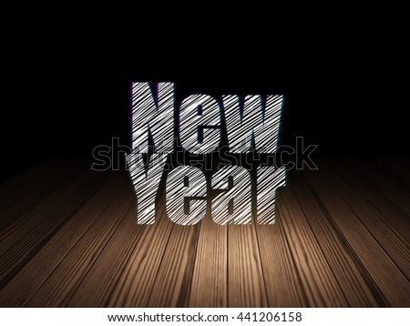 Entertainment, concept: Glowing text New Year in grunge dark room with Wooden Floor, black background - stock photo