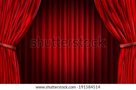 Entertainment curtains background for movies or at a theater stage or for a  presentation with red velvet drapes or curtains as a marketing advertising and promotion design element with copy space. - stock photo